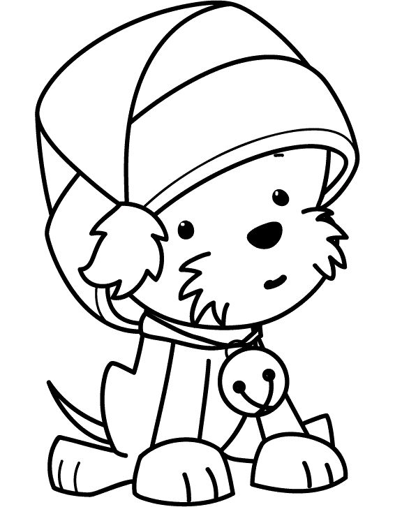 funny puppy wearing christmas hat coloring pages coloring pages pinterest funny puppies and christmas hat