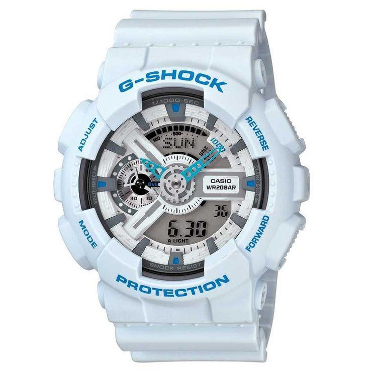 Casio GA110SN-7 Men's G-Shock Ana-Digi White Resin Alarm World Timer Watch