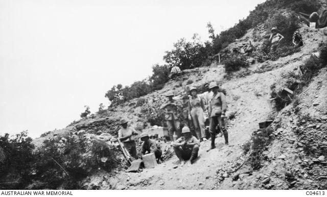 A group of 9th Australian Light Horsemen at the foot of Walker's Ridge.