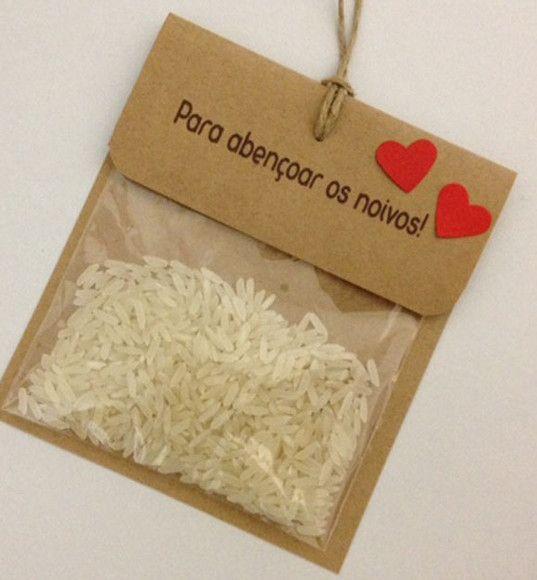 Embalagem para chuva de arroz Em papel kraft Texto personalizado Fio natural…