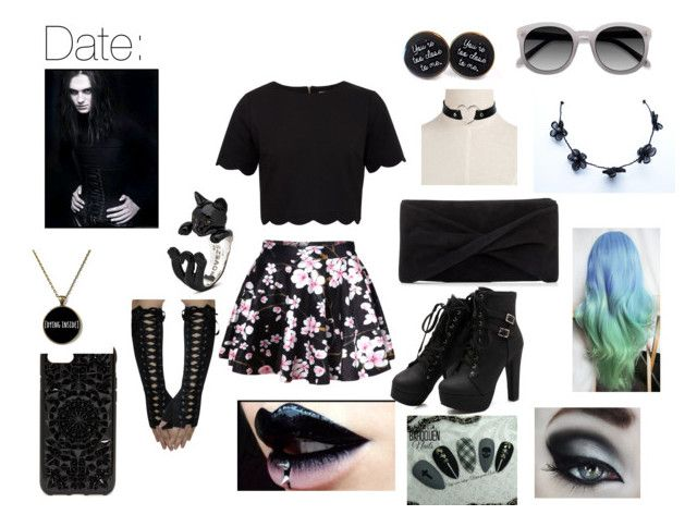 """""""Goth Date Night"""" by that-kid-in-the-back ❤ liked on Polyvore featuring Ted Baker, WithChic, Reiss, Felony Case and Ace"""