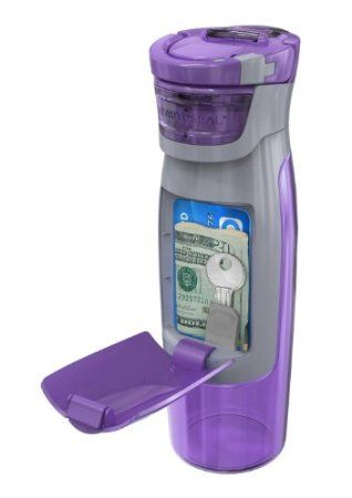 A water bottle for the gym that holds your personal things- house key, money, credit card, drivers license.