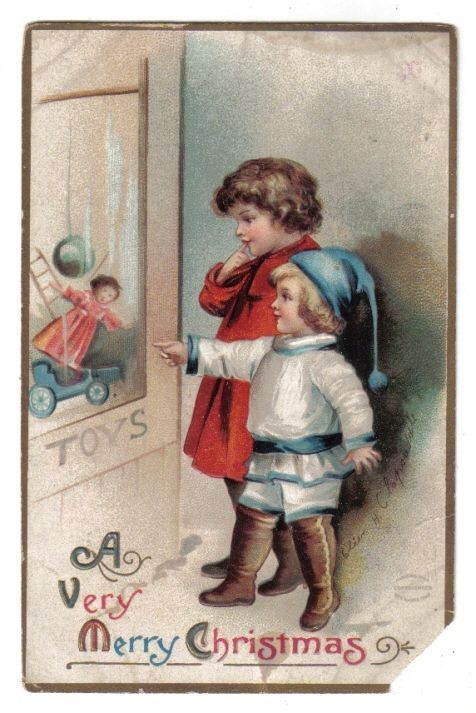 Children Looking At Toys in Store Window~A/S Clapsaddle~Christmas~1910 #Christmas