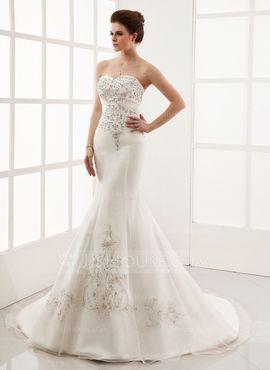 Mermaid Sweetheart Chapel Train Organza Satin Wedding Dress With Embroidery Beadwork (002000554)