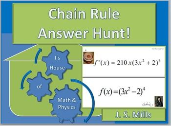 Using the chain rule, students will find the derivatives of these functions inside of functions. Uses standard Power Rule and Trigonometry Functions.Students start with any poster and complete the derivative at the bottom; they then search for the poster that has a matching answer at top.
