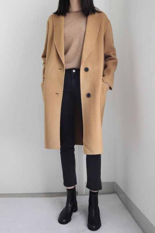 Outfit mit Cognac farbenen Wollmantel