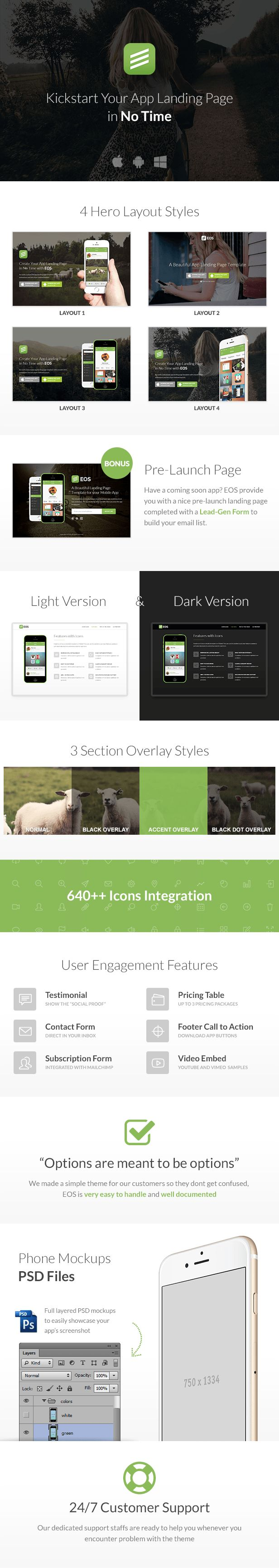 EOS Wordpress – An app landing page which comes with many accent color schemes and light , dark version . EOS has 4 layout styles ,  features representations with simple line and font awesome ico...