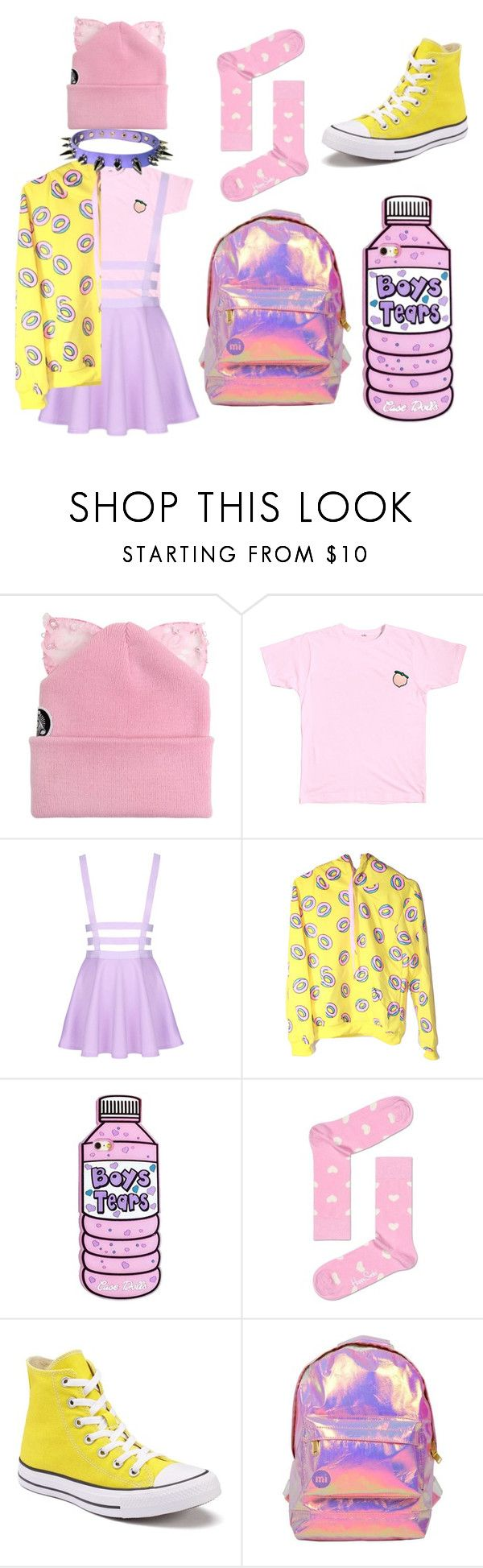 """""""Pastel Colors"""" by xvale-lovex ❤ liked on Polyvore featuring Silver Spoon Attire, Happy Socks, Converse and Miss Selfridge"""