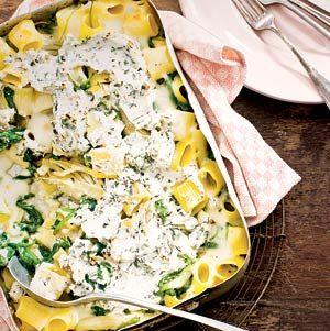 Recept - Rigatoni met spinazie, venkel en kaas - Allerhande