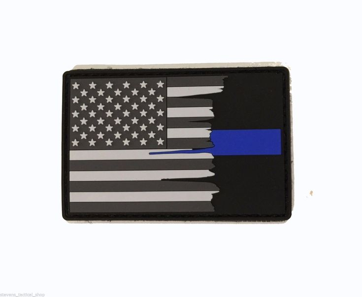 Subdued Tattered American Flag Thin Blue Line PVC Patch, Law Enforcement 2