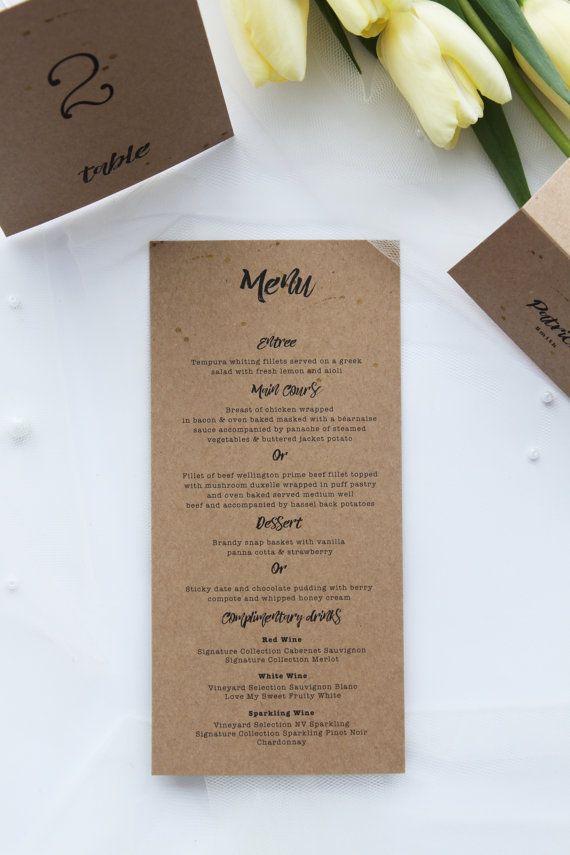Let Love Sparkle Rustic Menus, Modern and Elegant, Premium Kraft Cardboard