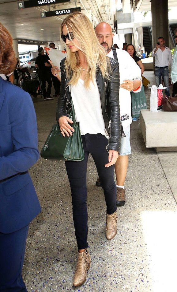 Airport Look: Rosie Huntington-Whiteley | Leather Jacket + Boots (via Bloglovin.com )