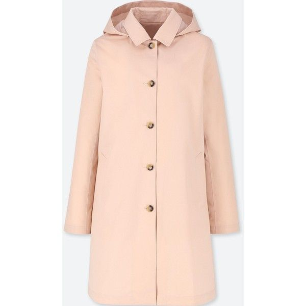 UNIQLO Women's Blocktech Soutien Collar Coat ($90) ❤ liked on Polyvore featuring outerwear, coats, pink, pink coats, collar coat, uniqlo, uniqlo coats and a line coat