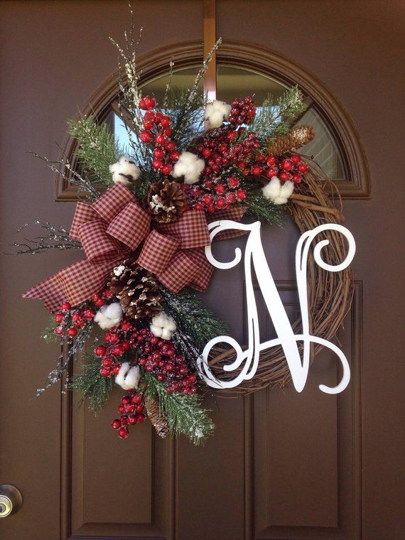 Cotton Christmas Wreath With Monogram Farmhouse Holiday Wreath With Initial Rustic Cotton Grapevine Winter Wreath Wreaths Pinterest Navidad