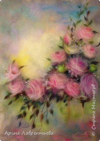 Картина панно рисунок Валяние фильцевание Картина из шерсти Розовое волшебство Шерсть