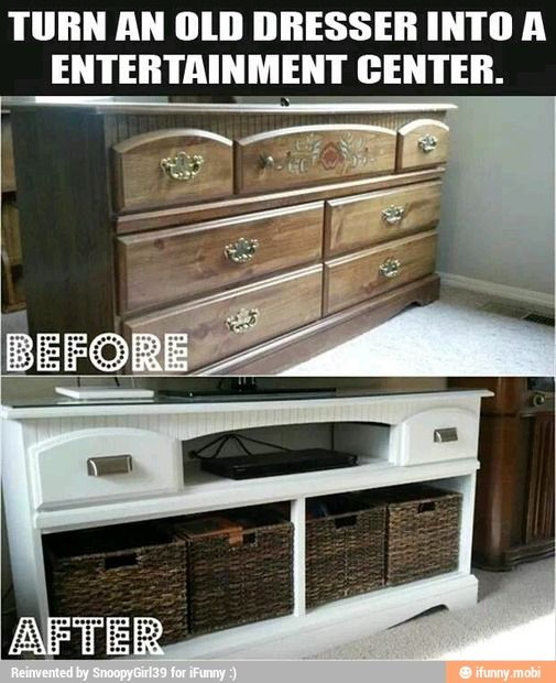 Old dresser into a t.v. table.
