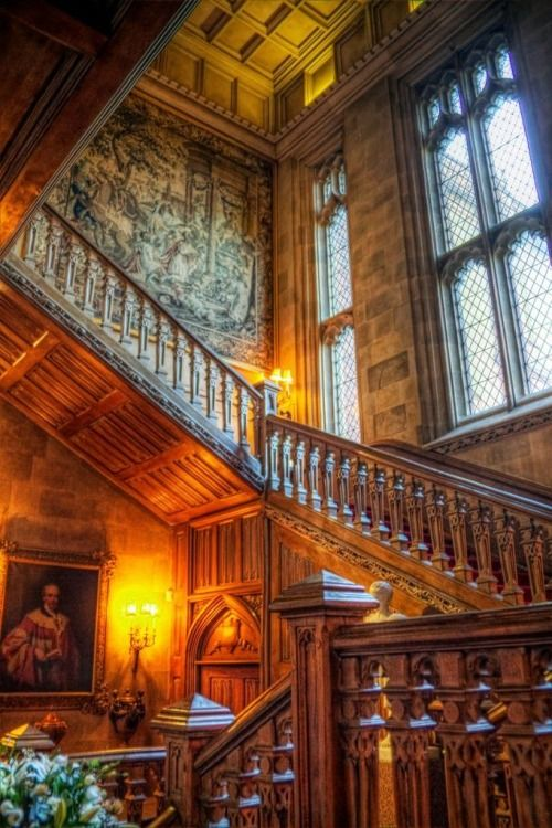 Staircase, Highclere Castle, England Background for the PBS Series Downton Abbey