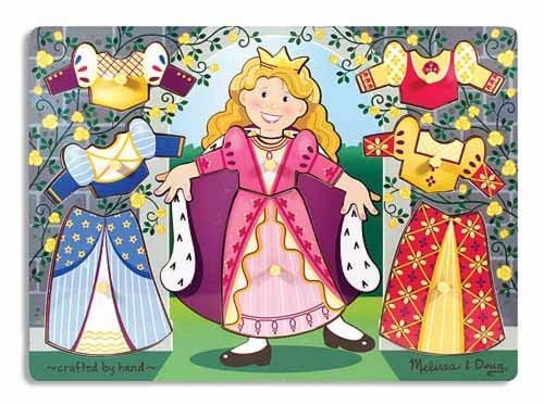 Princess Dress-Up Mix 'n Match Peg Puzzle - 8 Pieces : This wooden peg puzzle includes eight interchangeable pieces of clothing to design an outfit for every royal occasion.  Encourages hand-eye, fine motor and creative expression skills.