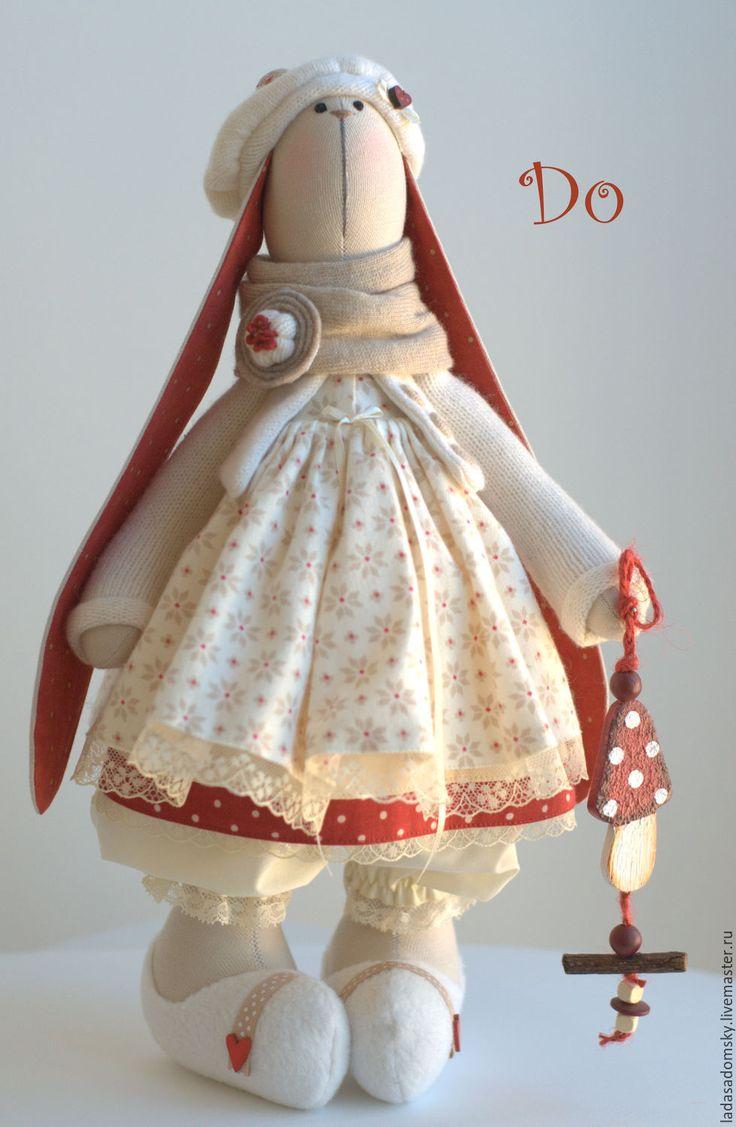 """Купить Зайка """"Do"""" - текстильная игрушка 38 см - бежевый, зайчик, зайка девочка"""