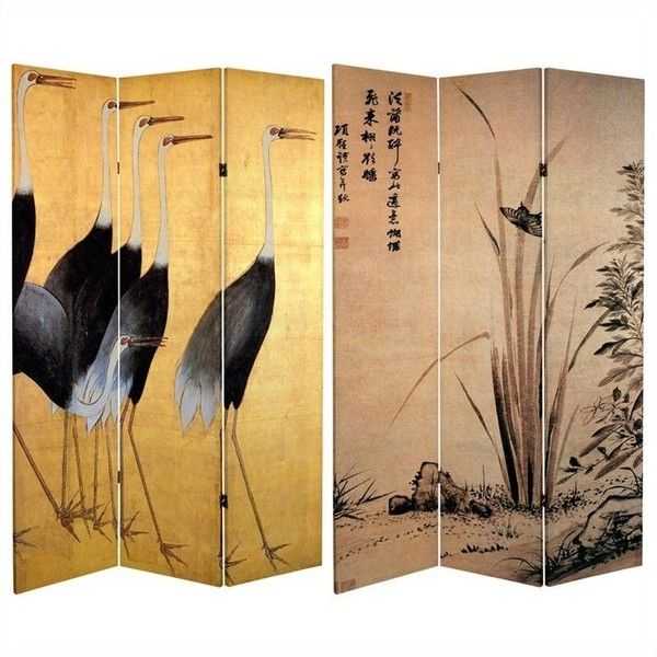 Oriental Furniture 6' Tall Cranes Room Divider (€120) ❤ liked on Polyvore featuring home, home decor, panel screens, butterfly sculpture, window screens, asian sculptures, asian screens and asian room dividers