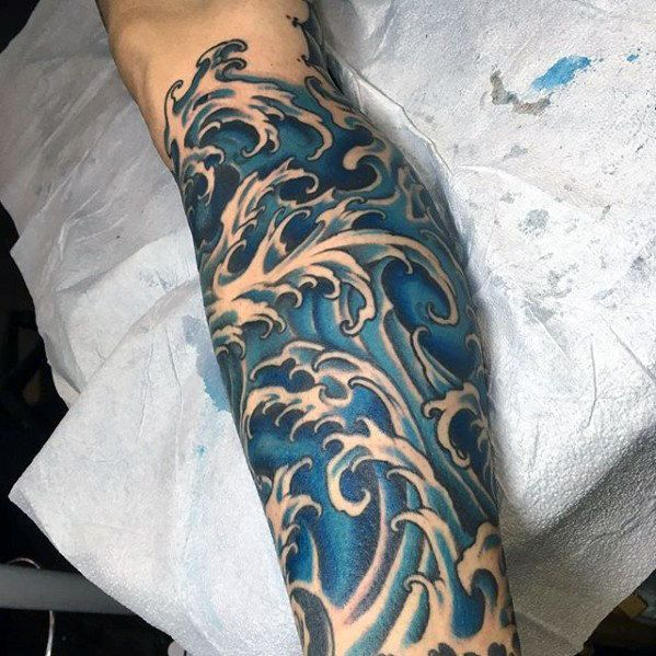 Leg Sleeve Blue Ink Japanese Wave Guys Tattoo Ideas Japanese Wave Tattoos Wave Tattoo Design Waves Tattoo