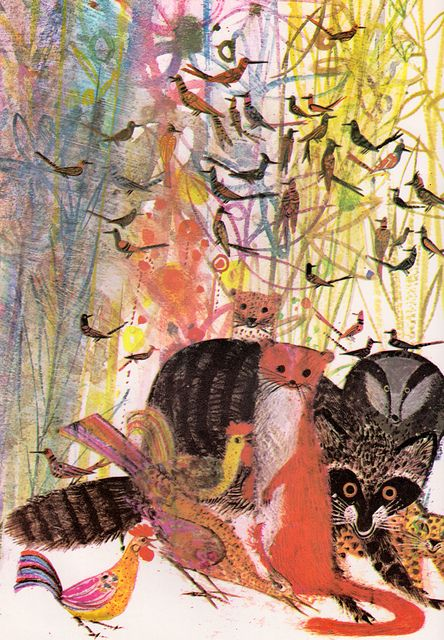 "Forest Creatures. From ""The Little Wood Duck"" by written & illustrated by Brian Wildsmith (1972)."