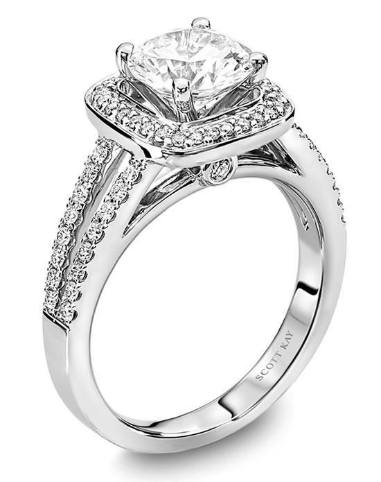 Scott Kay platinum engagement ring with cushion halo and split shank I Style: M1594R515 I https://www.theknot.com/fashion/m1594r515-scott-kay-engagement-ring?utm_source=pinterest.com&utm_medium=social&utm_content=june2016&utm_campaign=beauty-fashion&utm_simplereach=?sr_share=pinterest