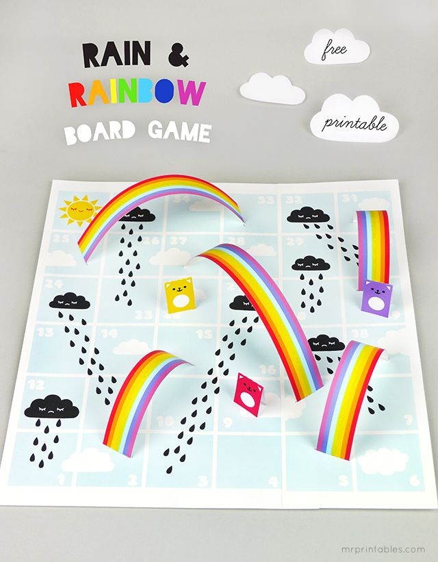 Juego Lluvia y Arcoiris. Rain & Rainbows Board Game. By Mr. Printables.