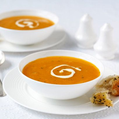 Classic Carrot and Coriander Soup. This was so yummy... lots of taste!
