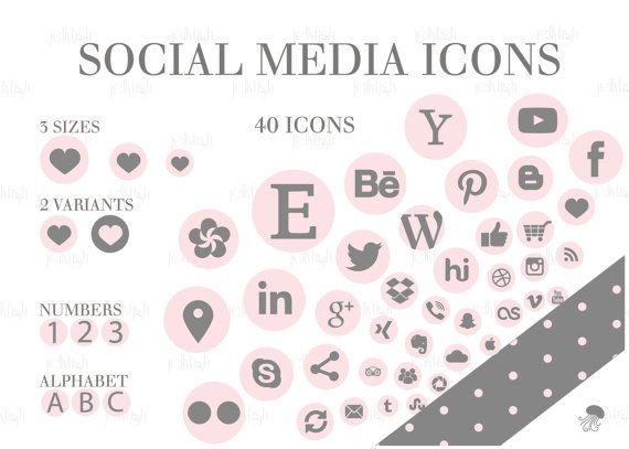 Social Media Icons Set Pink Gray Dots collection Download