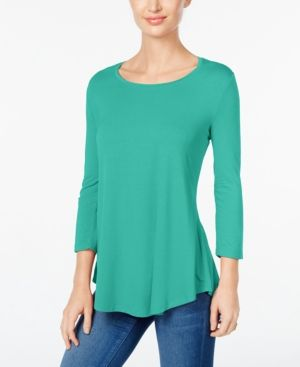 Jm Collection Petite Three-Quarter-Sleeve Top, Only at Macy's - Green P/S