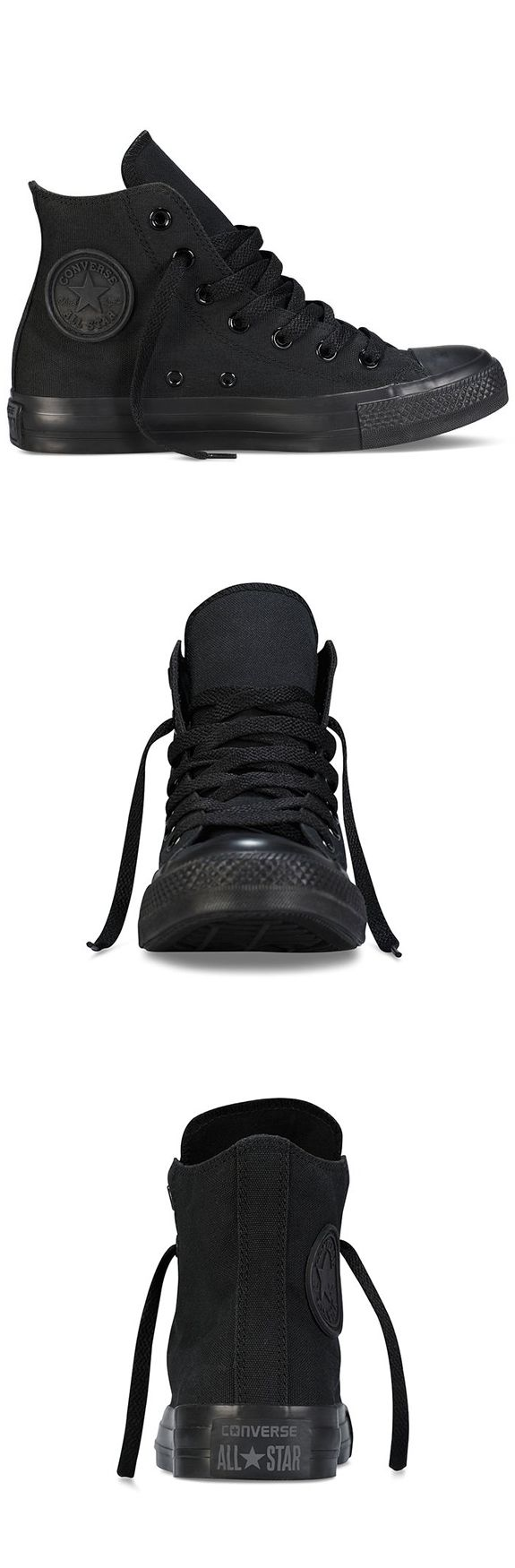 CONVERSE UNISEX CHUCK TAYLOR ALL STAR HI BLACK MONOCHROME----------- Color:  Black Monochrome canvas------------ Canvas upper for durability and comfort------------ Men and Women------------  Lace-up style and high-top design------------ Rubber outsole-------------