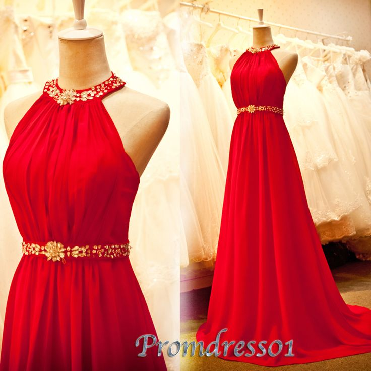 2015 new cute strapless round neck sleeveless open back red chiffon satin long prom dress for teens, ball gown, evening dress with sequins, bridal dress #promdress #wedding