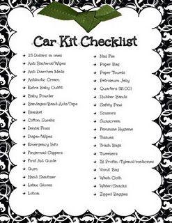 Car Kit Checklist (plus an emergency number list & diaper bag checklist)