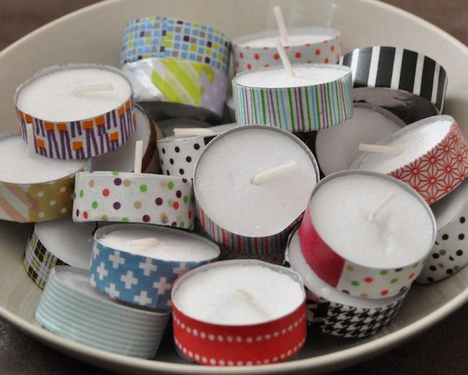 NICE!  Decorate the tealight holders!  waxine lichtjes als cadeau : Beplak het cupje met washi tape!