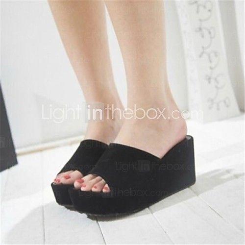 Sandály - Koženka - S otevřenou špičkou - Dámská obuv - Černá / Bílá - Běžné - Klín - AUD $28.59