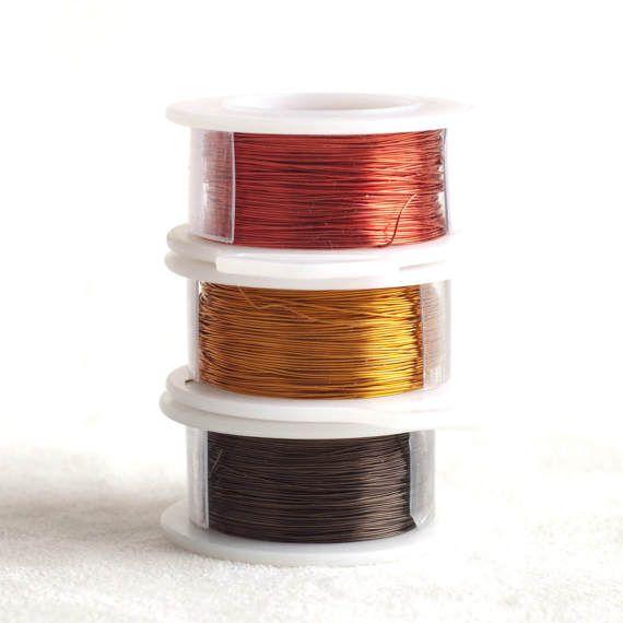 Cables De Color De Caida De Tierra Una Combinacion De Rojo Marron Y Mostaza 28gauge 0 3 Mm De Alambre Crochet De Alambre Joyas De Ganchillo Alambre De Cobre