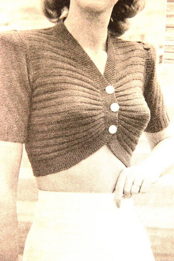 Hello Sailor 1940s Knitting Pattern cropped knitted top B32