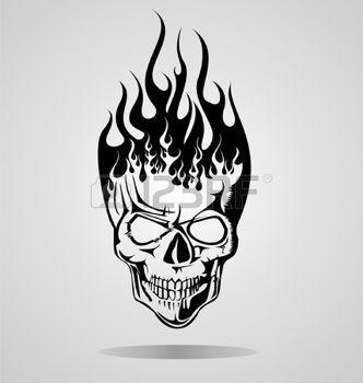 tatouage gothique: Brûler Tribal Skull Illustration