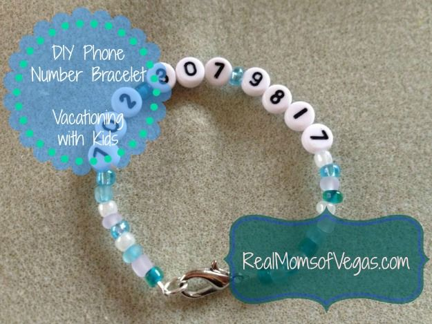 Vacationing with Kids | DIY Phone Number Bracelet- VIDEO and great ideas!  Found the number beads at Hobby Lobby :)  Real Moms of Vegas know about travel!