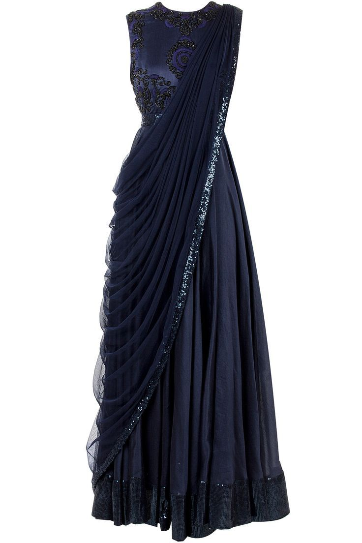 Black saree gown