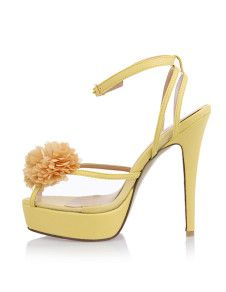 Sandals Yellow Flower PU Ankle-strapped Wedding Spike Heel Sandals For Women