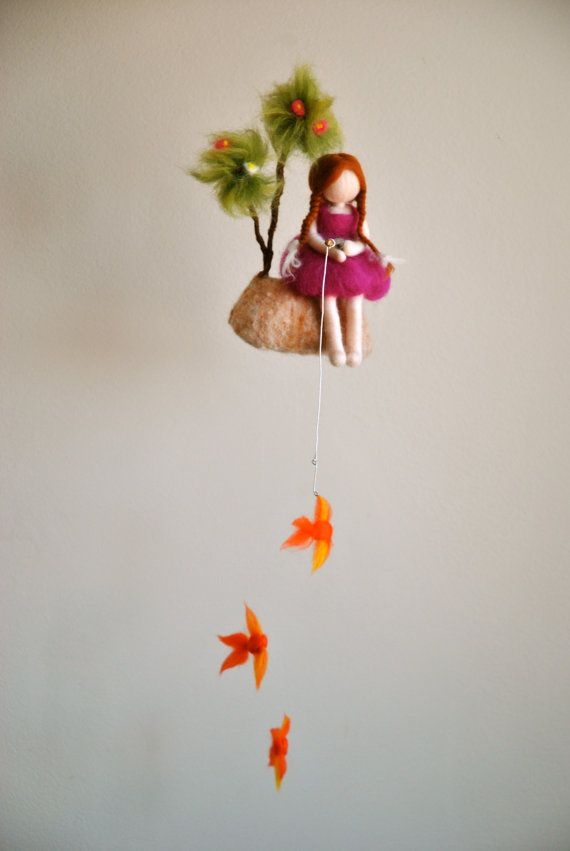 Girls Mobile Waldorf inspired needle felted doll by MagicWool, $75.00
