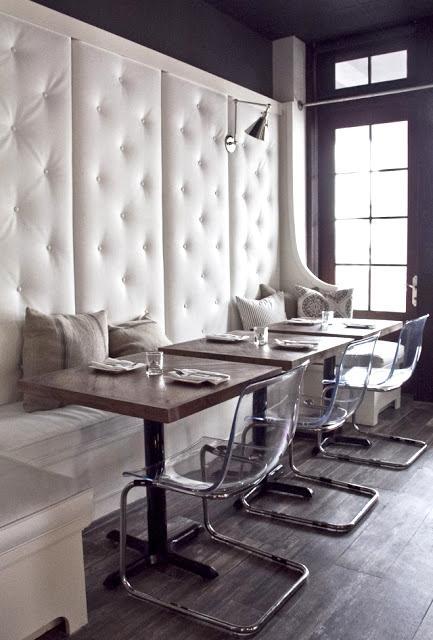High backed upholstered banquet at Aqua restaurant