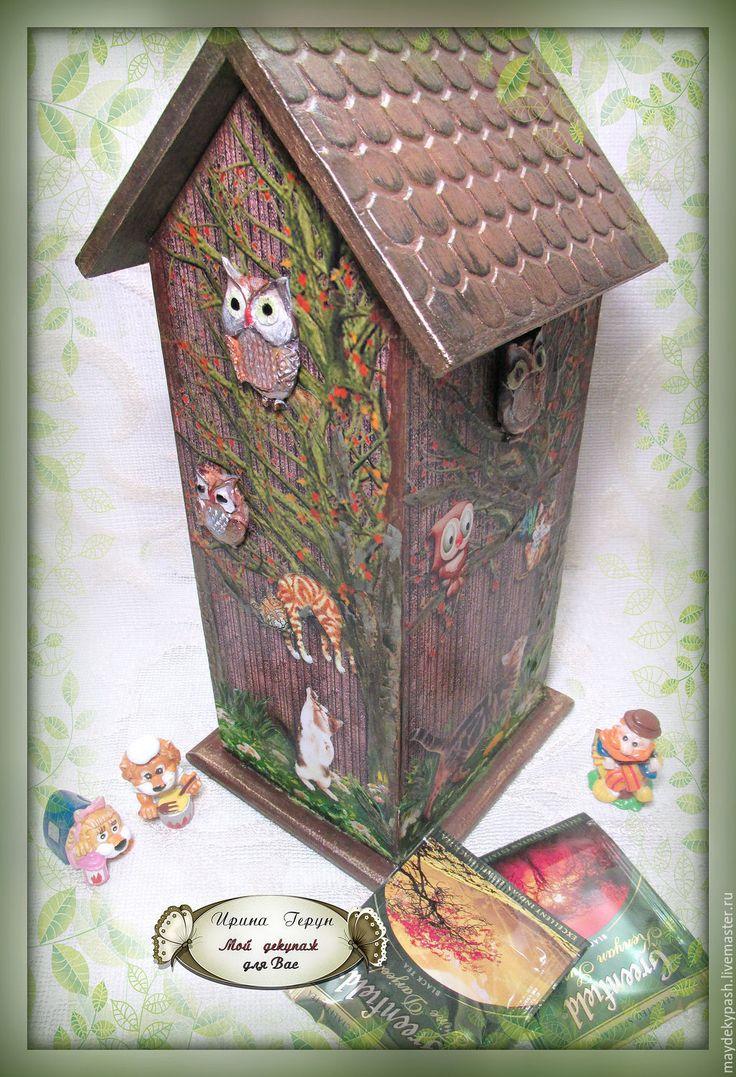 """Чайный домик """"Коты и совы"""" - коричневый, чайный домик, домик для чая"""