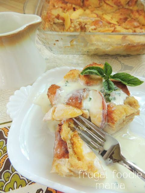Peach Bread Pudding with Sweet Basil Cream Sauce via thefrugalfoodiemama.com- creamy bread pudding brimming with ripe peaches