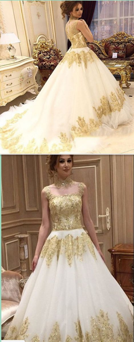 Gold Lace Prom Dress,Long Prom Dresses,Charming Prom Dresses,Evening Dress Prom Gowns, Formal Women Dress,prom dress