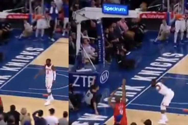 A referee fell and slid on the court like a baseball player, so Tim Hardaway Jr. called him safe