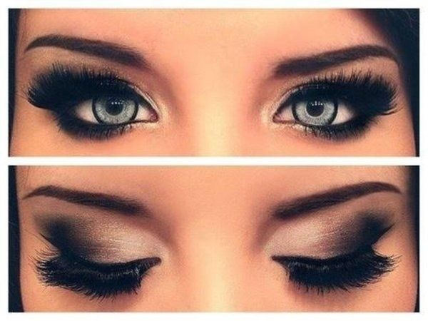 Very sensual beautiful eye makeup done with false eye lashes and naked 2 pallete