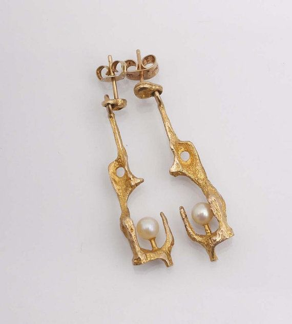// Bjorn Weckstrom, gold and pearl earrings, 1960s.